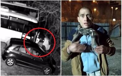 Řidič v Praze mobilem natočil zloděje, který se vloupal do minibusu. Pátrá po něm policie