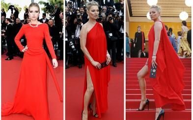 Róby z Cannes #3: Kate Moss a její sestra Lottie zářily v rudých šatech