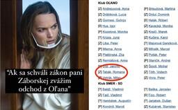 Romana Tabák tvrdí, že ak prejde Záborskej interrupčný zákon, zváži odchod z OĽaNO. Sama zaň pritom hlasovala