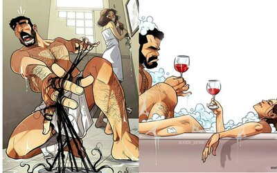 Romantický vztah, nebo nelítostný boj? Ilustrátor baví internet trefnými situacemi, kterým se nevyhne žádný pár