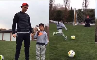 Ronaldo vyzval svého malého syna na penaltový souboj. Dokázal se mladý Cristiano prosadit proti otci?