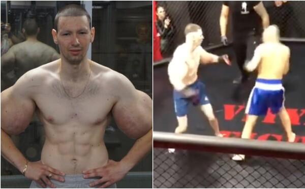 Rus s bicepsy napíchanými olejem, kterého přezdívají Pepek námořník, vydržel v MMA zápase 3 minuty