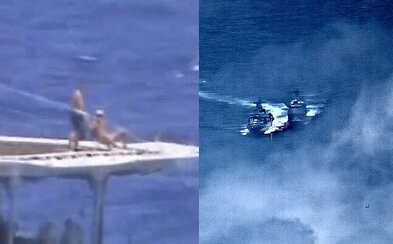 Ruskí námorníci sa zdanlivo spokojne opaľovali, zatiaľ čo ich loď sa takmer zrazila s americkým plavidlom