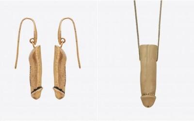 Saint Laurent představilo náušnice a náhrdelník ve tvaru penisu. Mosazný pohlavní orgán stojí 18 tisíc korun