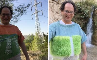 Sam vyrába svetre s motívmi skutočných miest, aby ich potom navštívil oblečený vo svojich výtvoroch. Na internete si ho ľudia zamilovali