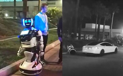 Samojazdiaca Tesla zabila autonómneho robota pri ceste. Ľudia žartujú, že začína robotická občianska vojna