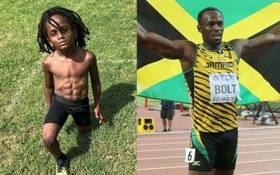 Sedmiletý atlet se dotahuje na Usaina Bolta. Ve své kategorii vytvořil nový rekord