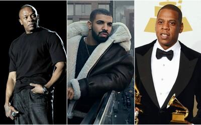 Seznam 5 nejbohatších hip-hopových umělců se změnil. Drake v něm nahradil 50 Centa