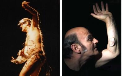 Šílenec, nebo génius? Umělec si nechal do ruky vsadit třetí ucho a během performancí nechává své nahé tělo viset na hácích