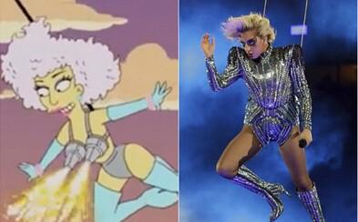Simpsonovci opäť predpovedali budúcnosť. Vystúpenie Lady Gaga zo Super Bowlu sa miestami podobá epizóde spred piatich rokov