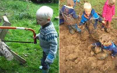 Škôlka, kde sa deti učia píliť drevo, váľajú sa v blate a snažia sa porozumieť prírode. Žiadne moderné technológie by si tam nenašiel