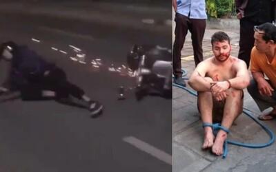 Skopl muže ze skútru a nechal se přejet autem. Na útočníka se vrhlo 10 lidí, kteří ho předali policii