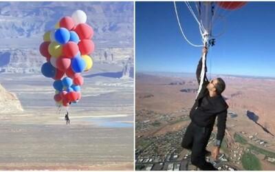 Slávny iluzionista David Blaine lietal na héliových balónoch. Dostal sa do výšky zhruba 7 600 metrov