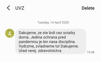 Slováci, ktorí sedeli cez sviatky doma, dostali od Úradu verejného zdravotníctva ďakovné SMSky