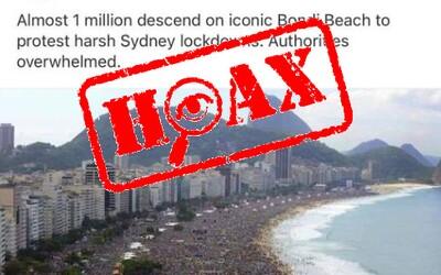 Slováci rozširujú hoax. V Austrálii neprotestuje milión ľudí proti lockdownu a na fotke je brazílska pláž, upozorňuje polícia
