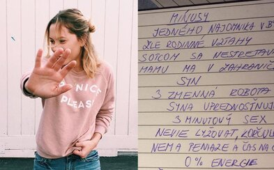 Slovenka zabáva internet zoznamom o tom, prečo by sa mala rozísť s priateľom. Nemá vodičák, nie je kreatívny v sexe, ale má byt