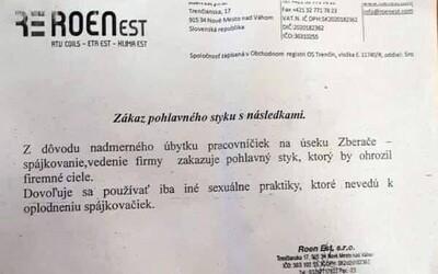 Slovenská firma údajně zakázala zaměstnancům pohlavní styk. Ostatní sexuální praktiky jsou však povoleny