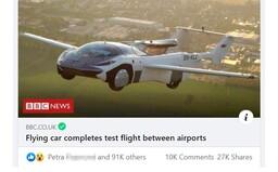 Slovenské lietajúce auto sa stalo hitom britskej BBC: dostalo už takmer 100-tisíc lajkov, ale nechýbajú ani vtipné narážky