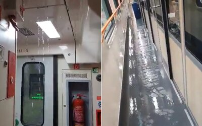 Slovenské vlaky nebojujú len s požiarmi, ale aj s dažďom. Vytopilo rýchlik, voda pretekala cez strop do uličky