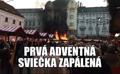 Slovenský internet si uťahuje z horiacich stánkov na bratislavských vianočných trhoch. Advent vraj začal v predstihu