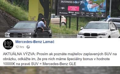 Slovenský predajca Mercedesu zabodoval vďaka potope v Bratislave. Majiteľom BMW a Audi ponúka 10-tisíc eur na skutočné SUV