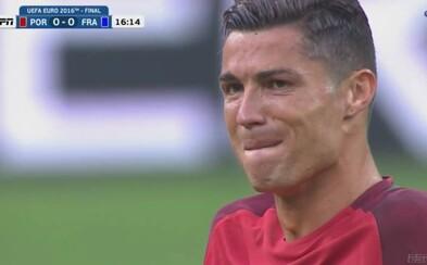 Smutný moment finále. Ronaldo napriek zraneniu túžil bojovať do konca, napokon však skončil v slzách