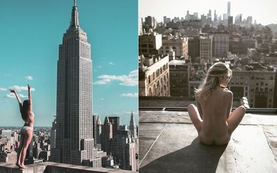 Spoře oděné modelky v kombinaci s panoramatem New Yorku? Japonský fotograf přesně ví, jak lidi zaujmout