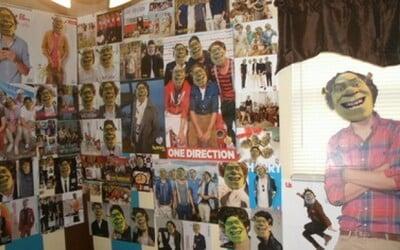 Starostlivý brat prelepil sestre všetky plagáty One Direction tvárou Shreka, 350-krát
