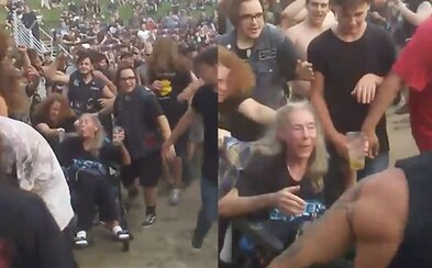 Stařičké metalistce na vozíčku pomohli fanoušci do jejího prvního moshpitu, který měla na seznamu přání