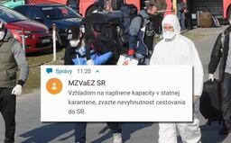 Štátna karanténa je plná. Zvážte, či potrebujete vycestovať naspäť na Slovensko, píše ministerstvo v SMS správe