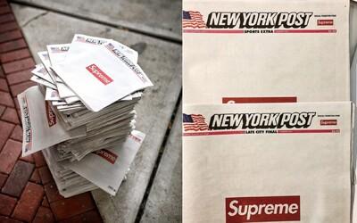 Supreme logo se objevilo i na americkém deníku. Výtisk tě u resellera vyjde na 1900 Kč