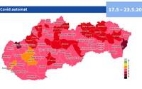 Takto bude vyzerať rozdelenie Slovenska podľa covid automatu od 17. mája: zostali len dva bordové okresy, pribúdajú oranžové