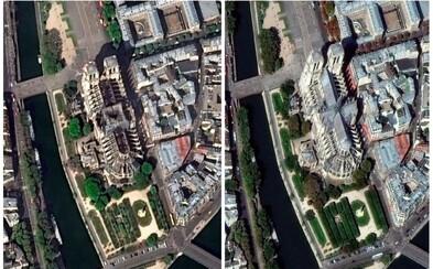 Takto vypadá Notre-Dame na záběrech z vesmíru před a po požáru
