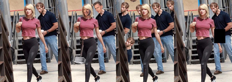Taylor Swift a jej nenápadný obdivovateľ dostali terapiu Photoshopom po tom, čo si vtipnú momentku všimli ľudia na internete