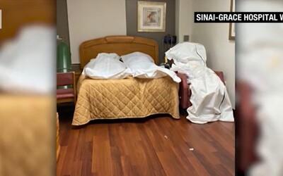 Telá mŕtvych pacientov, ktorých zabil koronavírus, musia v Detroite ukladať aj do prázdnych izieb, ukazujú fotky z nemocnice