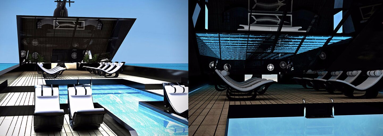 Temný exteriér, helikoptéra a nezvyčajný bazén. Jachta ako vystrihnutá z filmu o zloduchoch sa chystá brázdiť moria
