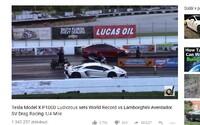 Tesla Model X porazila v závodě na čtvrt míle Lamborghini Aventador SV a vytvořila nový světový rekord jako nejrychlejší SUV