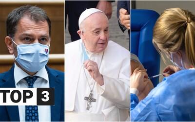 TOP 3 na stredu: Slovensko spúšťa očkovaciu lotériu, pápež príde na Luník IX a Matovič stále nedostal termín na Sputnik