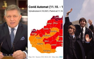 TOP 3 v pondelok: Slovensko je opäť v červenej farbe, The Beatles sa vraj rozpadli vinou Lennona a Ficov protest dostal zelenú