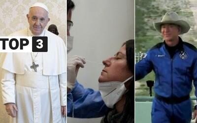 Top 3 v utorok: pápeža na Slovensku stretnú len zaočkovaní, antigénové testy budú stáť 5 € a Jeff Bezos si siahol na vesmír