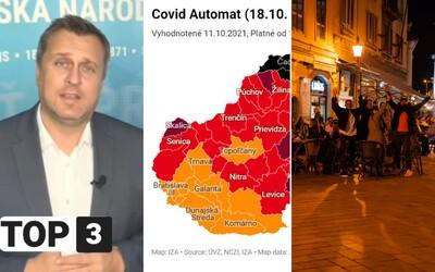 TOP 3 vo štvrtok: Čierne okresy sú späť, v Bratislave bude v novom roku po nociach ticho a Danko je opäť hviezdou internetu