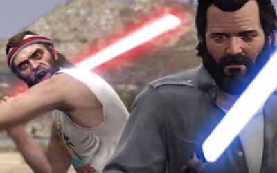 Trevor a Michael z GTA V si vyjasnili spory v súboji so svetelnými mečmi