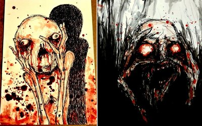 Umelec maľuje nočné mory svojou vlastnou krvou. Dodáva im tak ešte hrôzostrašnejší rozmer