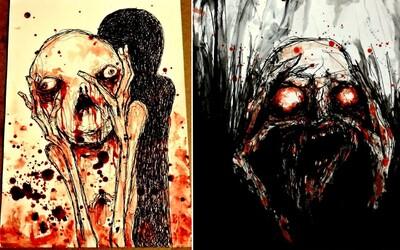 Umělec maluje noční můry svou vlastní krví. Dodává jim tak ještě hrůznější rozměr