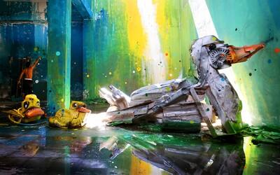 Umelec vytvára z odpadkov perfektný zvierací street art