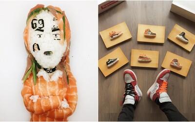 Umělec vytváří díky sushi originální podobizny raperů či slavné modely tenisek