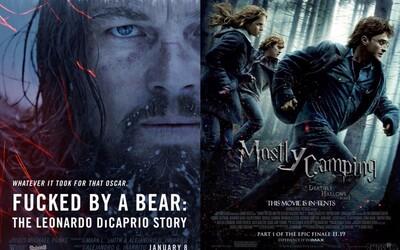 Upřímné plakáty k filmům si utahují ze zneužitého Leonarda DiCapria i Harryho Pottera na stanovačce