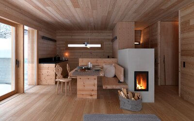 Útulná dřevěná chata, která se nachází téměř uprostřed divočiny