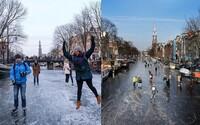 V Amsterdamu po letech zamrzly kanály. Lidé po nich chodí do práce, ale nezapomínají ani na brusle