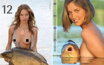 V bizarnom erotickom kalendári pózujú polonahé modelky s obrovským uloveným kaprom